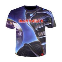 ingrosso stili di abbigliamento punk-Iron maiden Shirt Tee Band Musica T-shirt Skull Tshirt Gothic Tops Rock Vestiti Punk 3D Stampa T-Shirt Coppie 10 Stili