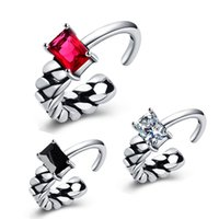 Wholesale red corundum - Silver Plated Green   red Corundum Rings for Women 925 Thai Silver Ring Jewelry R215