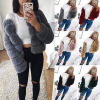 Wholesale Winter Furry Jacket - Winter Women Fashion Plus Size Winter Faux Fur Women Coat Warm Short Hair Furry Ladies Outwear Fake Fur Females Fashion Jacket