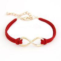 pulsera de moda infinito al por mayor-Mujeres Multilayer Pulsera Wrap Leather Infinity símbolo Pulsera brazaletes de regalo pulsera señoras Fashion Rope Cuff Cord F80
