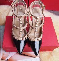 ladies high heel shoes toptan satış-SICAK! Büyük Boy 2018 Tasarımcı 8 cm 10 cm Gladyatör Yüksek Topuklu Kadın Ayakkabı Çıplak Siyah Spike T-kayışı Pompa Rugan Damızlık Lady Ayakkabı Yaz