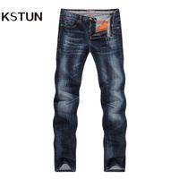 jeans azul oscuro macho al por mayor-Al por mayor-KSTUN Nuevas llegadas Otoño Jeans Hombres Calidad Marca Casual Pantalones de mezclilla Straight Slim Fit Dark Blue Hombre Pantalones Yong Hombre