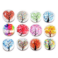 Wholesale tree decor stickers - 12pcs lot 25mm Fridge Magnet Tree of Life Stickers Home Decor Kitchen Accessories Party Supplies Wedding Decorations Christmas Gifts