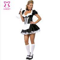mais tamanho uniforme da empregada venda por atacado-Adulto Lolita Preto Sexy Francês Empregada Doméstica Vestido Uniforme Fantasias Femininas Traje de Halloween Plus Size Trajes Cosplay Para As Mulheres 3XL