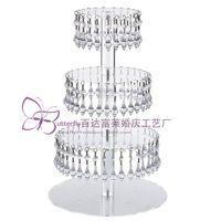 stiefel kuchen stehen großhandel-4 Tier Runde Acrylglas Cupcake Tower Stand mit hängenden Acryl Kristall Perle-Hochzeit Kuchen Turm / Cupcake Halter /