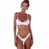 ingrosso bikini bello-donne Bella nuova Sexy 2018 Bikini Set Solid Swimwear Bikini brasiliano donne Beach Wear costume da bagno popolare costume da bagno femminile