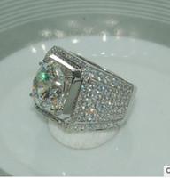 anillo de plata 925 de piedra grande al por mayor-Full Sunning Zirconia CZ Joyería de Lujo Forma Redonda 925 Plata Esterlina Piedra Grande 925 Amantes de Plata Anillo de Boda