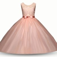 Wholesale tutu flower girl dresses online - Baby flower dress TUTU lace Princess dresses new fashion summer Kids Clothing Boutique girls Ball Gown colors C3547