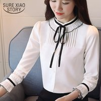 weiße langärmelige bluse frauen großhandel-neues angekommenes 2018 Frühlingsbluse-Frauenart und weisehemd Frauen langärmeliges koreanisches Chiffon- Hemd weiße Kleidung D461 30