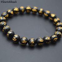 Wholesale Mani Padme - Fashion Jewelry Black Agate Carved Om Mani Padme Hum Round Beads Buddhist Stretch Bracelets 8mm 10mm 12mm