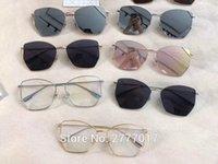 gafas de titanio de media montura. al por mayor-Retro stellaire diseñador de la marca de metal marco polígono gafas de sol mujeres gemelas espejo plano Recubrimiento de anteojos irregulares UV400