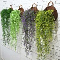 Wholesale fake hanging plants - Creative Artificial Ivy Leaf Delicate Garland Plants Flower Vine Fake Silk Hanging Wedding Home Air conditioner Pipe Decor Supplies 5gd YY