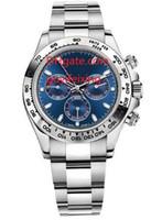 relógios azuis de safira para homens venda por atacado-Fábrica de Fornecedores Mens Watch Safira 40mm Cosmograph Azul Dial 116509 Mecânica Automática Sem Cronógrafo Stainless Steel Men Watch Relógios