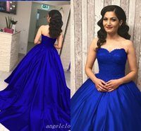 königsblaues süßes herzkleid großhandel-Saudi Arabisch Royal Blue Ballkleid Abendkleider Sweet Heart Backless Sweep Zug Lange Formale Abschlussball-Party Kleider Plus Size Vestidos De Fiesta