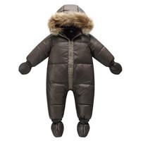 casaco marrom do bebê venda por atacado-Marca de inverno de alta qualidade jaqueta moda marrom 9 M -36 M infantil casaco 90% de pato para baixo neve desgaste baby boy snowsuit com capuz de pele natureza