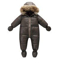 brauner babymantel großhandel-Top Qualität Wintermarkenjacke Mode braun 9M -36M Säugling Mantel 90% Entendaunen Schnee Abnutzungsbaby Junge snowsuit mit der Natur Pelzhaube