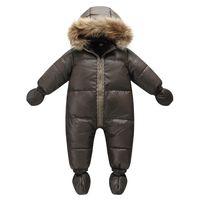 коричневое детское пальто оптовых-Top quality winter  jacket fashion brown 9M -36M infant coat 90% duck down snow wear baby boy snowsuit with nature fur hood