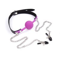 Wholesale Metal Nipples Clamps Silicone Mouth Plug Ball Gag Bondage Slave In Adult Games For Couples Fetish Oral Sex Toys For Women