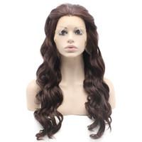 perucas castanhas escuras venda por atacado-Peruca sintética da parte dianteira natural amigável do laço de Auburn do calor ondulado longo ondulado