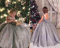 Wholesale Shiny Bow - Sweety 2018 Princess Flower Girl Dresses Shiny Silver Jewel Neck backless With Bow Empire Ball Gowns Pageant Communion Dresses For Girls