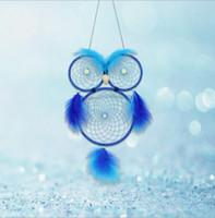 ingrosso gufi di decorazione-Night light Beaded Owl Dreamcatcher Circolare Carillon di vento con piume Hanging Decoration Ornament Craft Gift Cute Bird Dream Catcher