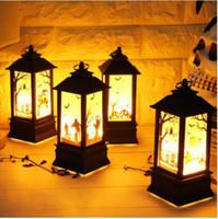 ingrosso luce lanterna d'epoca-2018 Halloween Vintage Pumpkin Castle Light Lamp Party Hanging Decor Lanterna LED per feste Forniture Cult Horror fantasma Witch Hanging Lantern