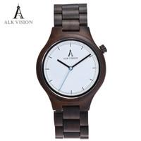 hombres de reloj ecologico al por mayor-Reloj de madera Relojes de diseño de los hombres de alta calidad de madera, reloj Eco amigable de madera del ébano banda reloj de cuarzo Mecanismo tiempos