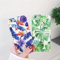Wholesale banana phone cover - Tropical plants Phone Cases For iphone Case Summer Banana Green Leaf PC Cover For iPhone S Plus X Case