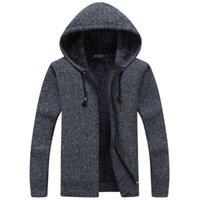 erkekler hooded kazak kazak toptan satış-Erkekler Yün Kazak Katı Erkek Hırka Moda Erkek Kış Giyim Artı Kadife Kalınlaşma Kapşonlu Dış Giyim Kapşonlu Katı Renk Kazak Damla