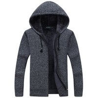 Wholesale clothes chinese style men online - Men Wool Sweaters Solid Male Cardigan Fashion Mens Winter Clothing Plus Velvet Thickening Hooded Outer Wear Hooded Solid Color Sweater Drop