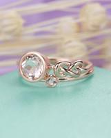 полоса морганита оптовых-MYRAY 14k розовое золото натуральный круглый розовый Морганит обручальное кольцо комплект обручальное кольцо уникальный женщины юбилей подарок белый желтый набор