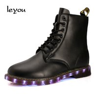 295f19589f7 Rebajas led boots - Leyou Lighting Led Boots Hombre Lace Up Martin Boots  Zapatos Tobillo Led