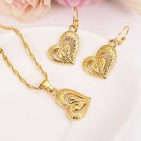 ingrosso pendente del cuore giallo-Moda 14 k giallo oro fine Fille a forma di cuore set di gioielli collane ciondolo donne, gioielli africani, set arabi, charms etiope partygift