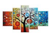 para ağaç sanatı toptan satış-El-boyalı petrol duvar 5 panel resimleri soyut para ağacı boyama tuval duvar sanatı modern ofis duvar dekor benzersiz hediyeler Kungfu Sanat