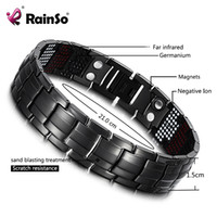 ingrosso salute maschile nera-RainSo Male Bracelet Salute Germanio Bracciale Charm Black Titanium Magnetic Therapy Braccialetti Unique Wristband Men Jewelry 1316