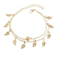 foto-charme armbänder großhandel-Frauen Gold Leaf Charm Fußkettchen Echt Fotos Gold Kette Knöchel Armband Mode 18 Karat Gold Fuß Fußschmuck