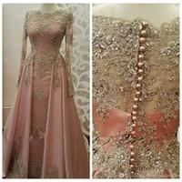müslüman kadınlar toptan satış-2018 Bateau Uzun Kollu Örgün Abiye Kadınlar için Giymek Uzun Kollu Dantel Aplikler kristal Abiye Dubai Kaftan Müslüman Balo Parti Törenlerinde