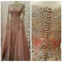 vestidos de festa longos muçulmanos venda por atacado-2019 Bateau mangas compridas Vestidos formais para as mulheres usam manga comprida Lace apliques de cristal Abiye Dubai Caftan muçulmana Prom Party Vestidos