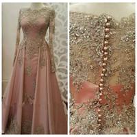 müslüman için uzun elbise dantel toptan satış-2019 Kadınlar Giyim Uzun Kollu Dantel Aplikler kristal Abiye Dubai Kaftan Müslüman Balo Parti törenlerinde için Bateau Uzun Kollu Örgün Abiye