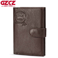 Wholesale vintage clamps resale online - GZCZ Genuine Leather Wallet Coin Purse Men Wallets Zipper Clamp For Money Clutch small Walet Male Card Holder