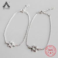 gümüş hexagram toptan satış-Heksagram şanslı basit kadınlar takı için 925 ayar gümüş bilezik oymak