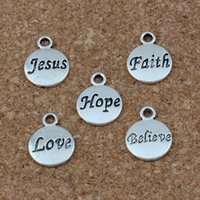 Wholesale slide bracelet letters - Hope Believe Love Faith Jesus Charms Pendants 100Pcs lot 11.5x15.5mm Antique Silver Fashion Jewelry DIY Fit Bracelets Necklace Earrings A-23