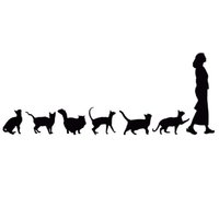 Wholesale women sticker - Cats Following Woman Funny Car Styling Decoration Stickers Lovely Cool Cartoon Car Sticker 22.9*8.9CM