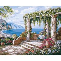 ingrosso acrilico paesaggi marini-Picture Frameless Seascape Fai da te Pittura By Numbers Kit Pittura acrilica By Numbers Canvas Painting Home Wall Art Decor 40x50