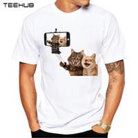 rindo animais venda por atacado-2018 Rindo Gatos Homens T-shirt 3D Gato Engraçado Impresso Camisetas Hipster de Manga Curta Casual Animal Tops