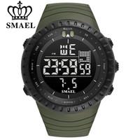 6e9d27661862 SMAEL Hombres Deportes al aire libre Cronógrafo electrónico 2018 Reloj para  hombre nuevo Gran Dial Digital 50M impermeable Relojes LED digitales