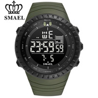 Wholesale round wrist watch big dial - SMAEL Men Outdoor Sports Electronic chronograph New Men s Watch Big Dial Digital M waterproof Digital LED Wrist Watches