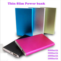 Wholesale External Battery Dhl - Wholesale Thin slim powerbank Ultra power bank for mobile phone Tablet PC External battery DHL Free shipping