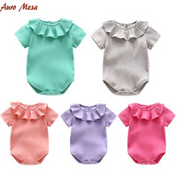 Wholesale purple clothes for girls size for sale - 2018 Summer Infants Knit romper Short sleeve Peter pan collar Ruffles Rib Bodysuit for baby girl Boutique clothing