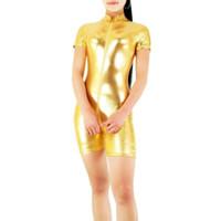 tanzbekleidung fitness großhandel-Erwachsene schwarze Rollkragen Neck Damen Shiny Metallic Kurzarm Biketard Unitard Kostüm Lycra Short Dancewear Fitness Biketards